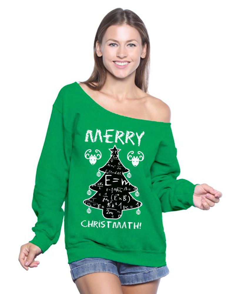 Ugly Christmas Sweatshirt Off Shoulder Xmas Teacher Sweater