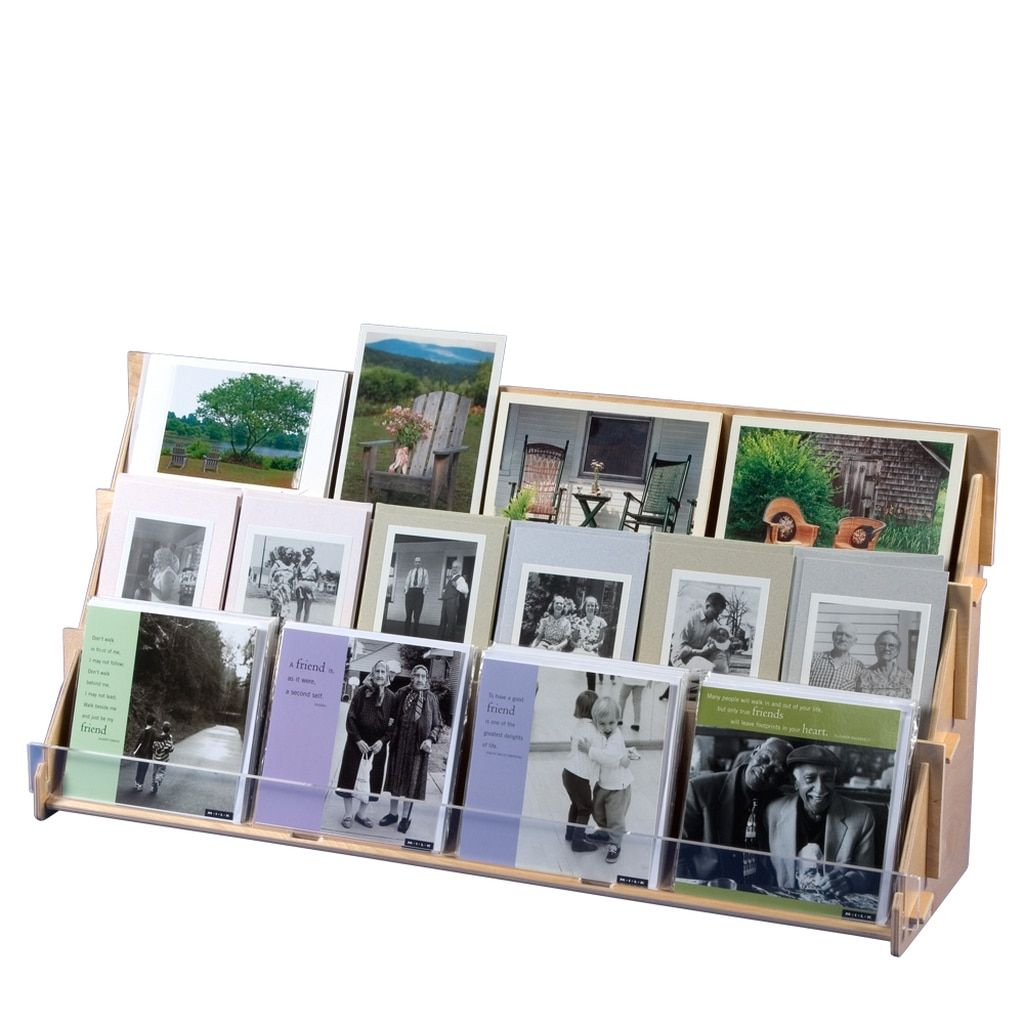 Birch retail display for greeting cards and postcards