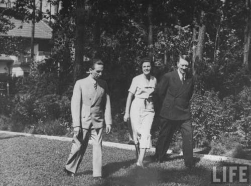 Leni Riefenstahl with Joseph Goebbels and Adolf Hitler.