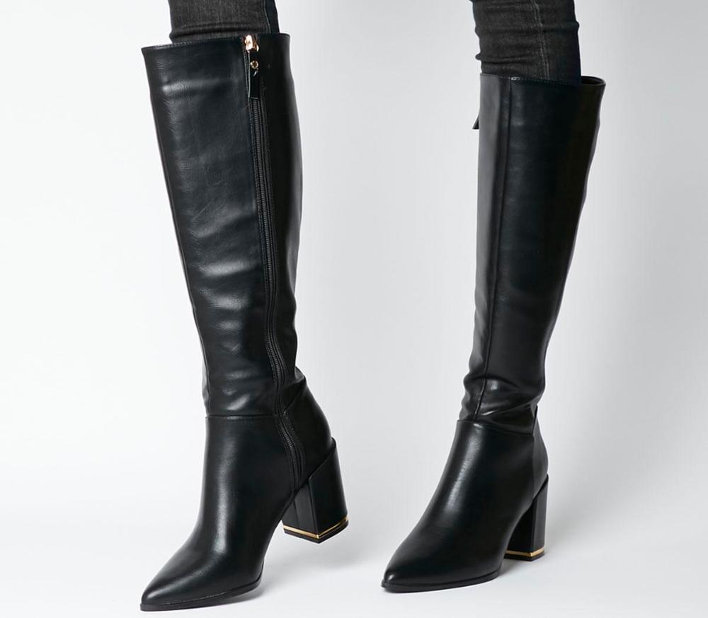 Klever Block Heel Knee Boots Black