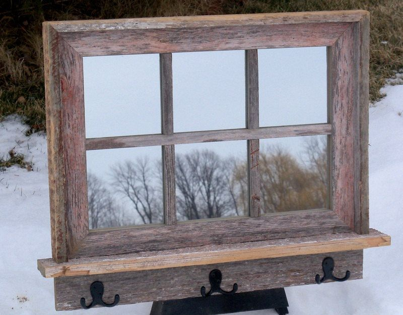 Barnwood Framed Mirror with 6 panes shelf and hooks | Frame mirrors ...