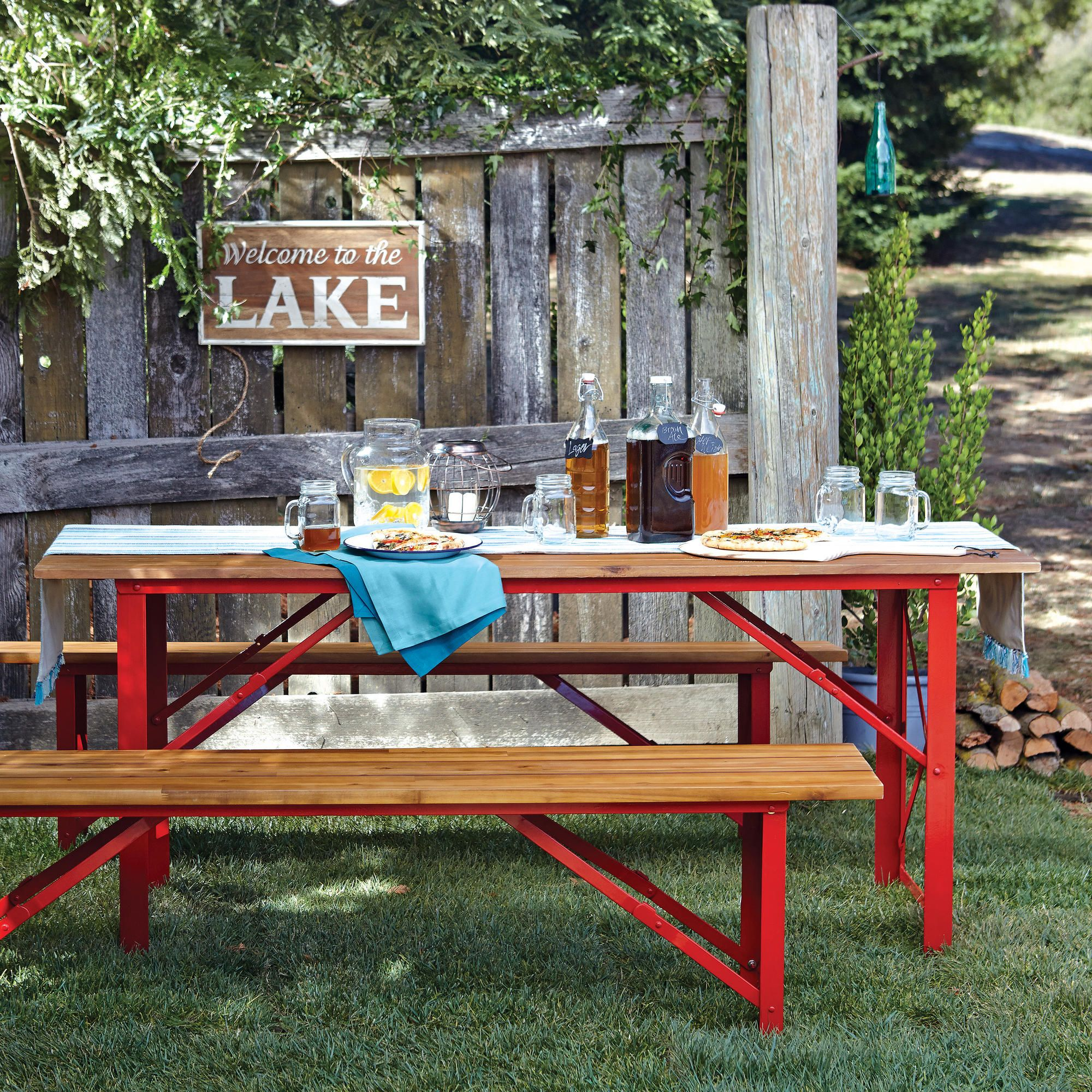 Beer Garden Outdoor Dining Table Crafted of powder coated steel