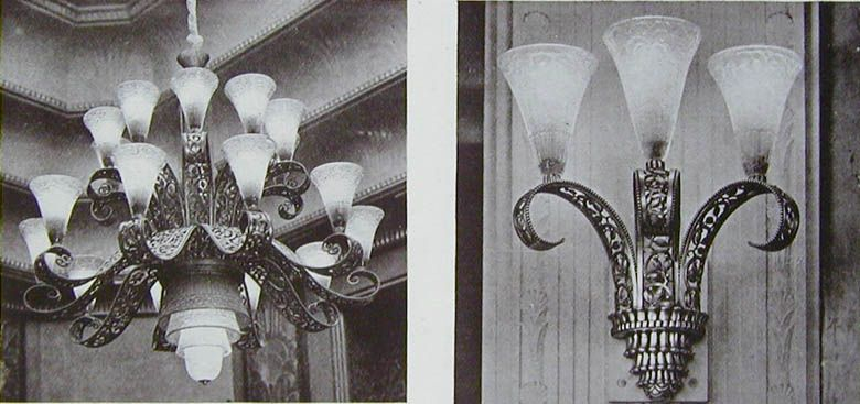 Edgar Brandt: ceiling lamp in wrought iron with silver patina and electric light fitting in wrought iron (illustration 126C)