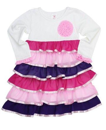 4845f38d7 RuffleButts Rainbow Ruffled Tee Dress