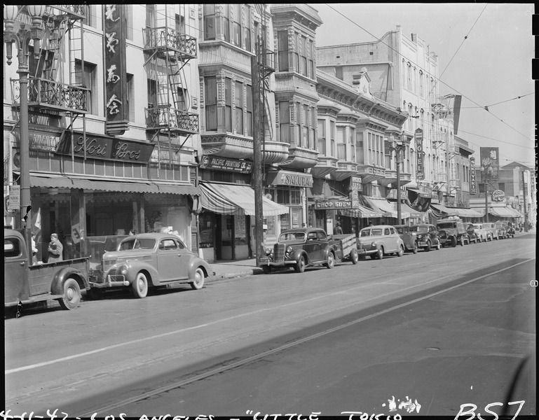 Street scene in Little Tokyo, Los Angeles, California, 11 April 1942, Clem Albers, public domain via Wikimedia Commons.