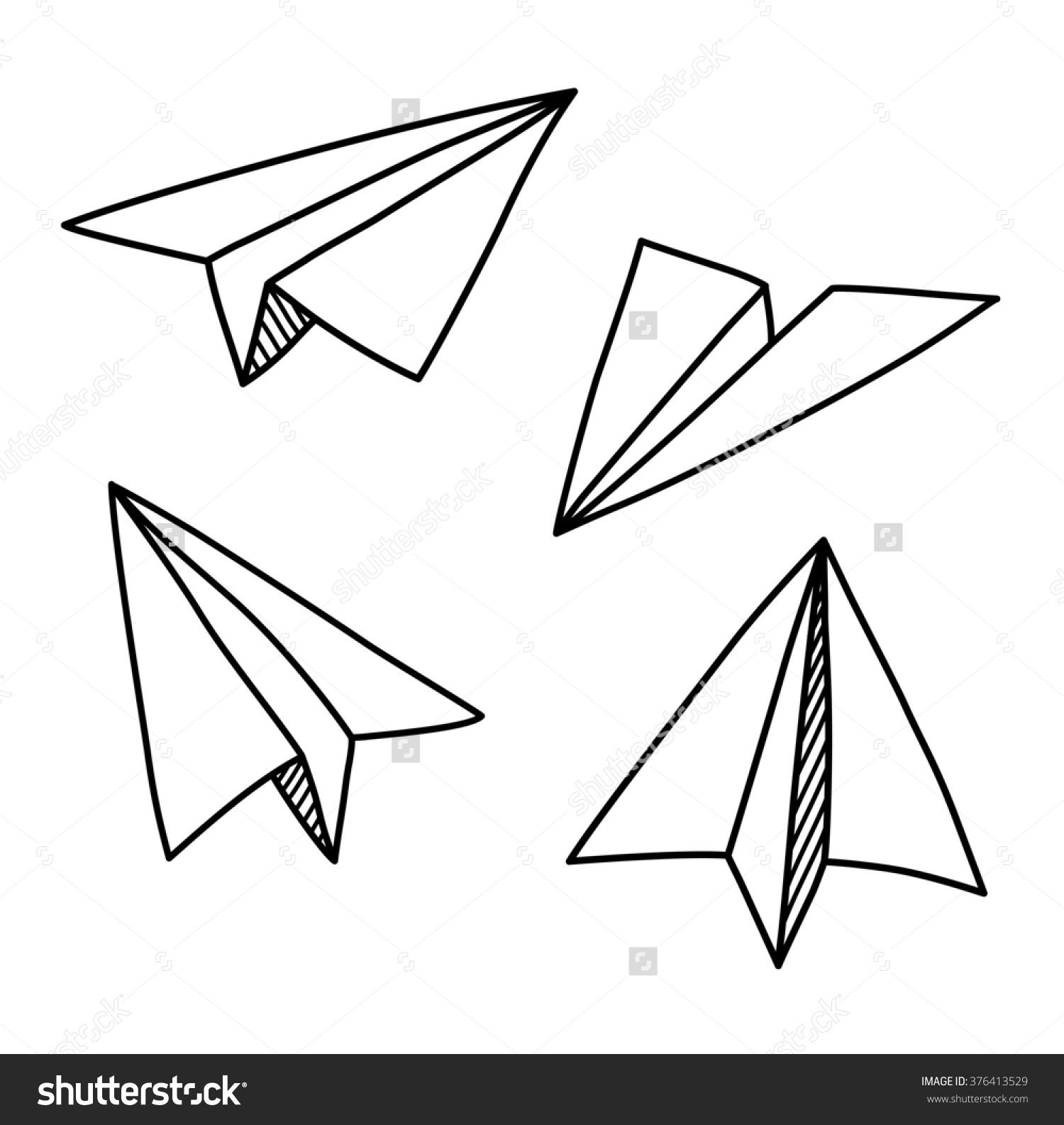 Doodle paper plane set in hand drawn sketch style isolated illustration