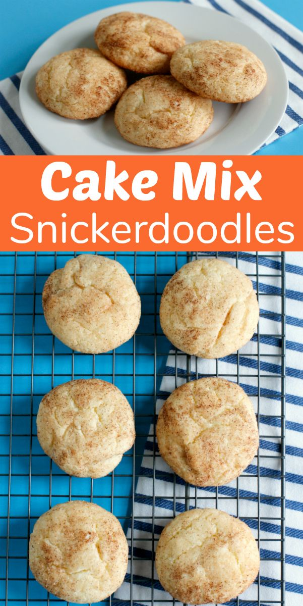 Cake Mix Snickerdoodles Cookie #quickcookierecipes
