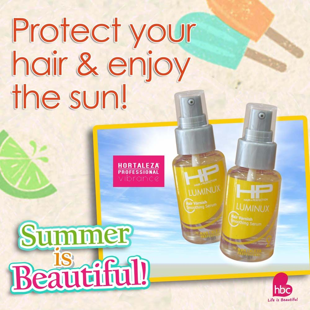 #WednesdayWisdom: Did you know that Hortaleza Professional Hair Varnish gives control, shine and definition, while preventing moisture loss and eliminating frizz? Slip into some varnish for a look that's slippery smooth and ready for action this summer! #hbcSummerisBeautiful