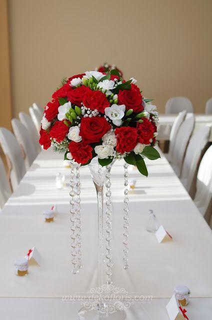 Dekoracje I Bukiety Slubne Opolskie Czerwone Dekoracje Kwiatowe Wesela Jemielnica Opolsk Red Rose Bridal Bouquet White Wedding Centerpieces Red Rose Wedding