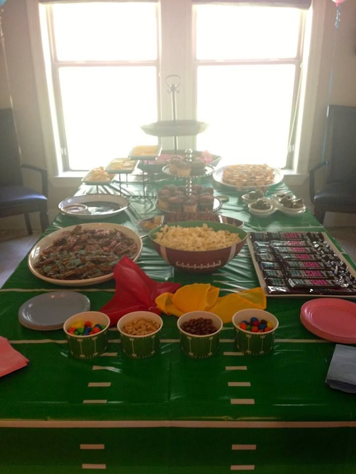 Football Themed Gender Reveal Party Northshore Parent Gender Reveal Party Food Gender Reveal Menu Gender Reveal Party