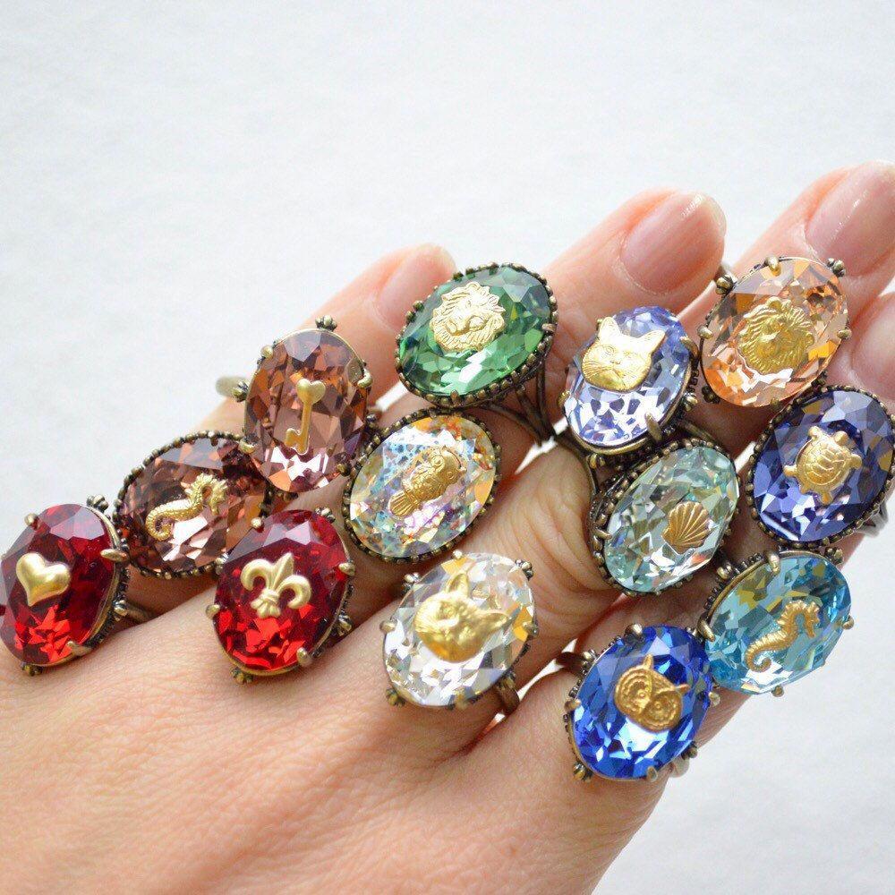 Anelli regolabili in ottone e Swarovski Crystals