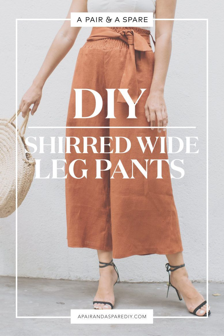 Make These DIY Shirred Wide Leg Pants #diyclothes