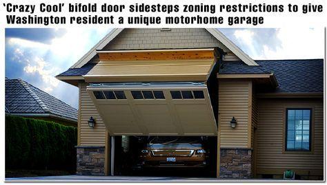 Regular Look Garage Door Opens To A Motor Home Garage Door Schweiss Bifold Liftstrap Door 12 Ft Wide With A 14 Ft Garage Doors Rv Garage Garage Door Sizes