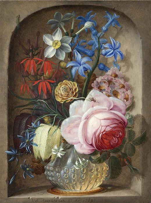 Flowers in a vase in a stone niche, 1719 | Art | Pinterest ... on bud vases, graveside vases, us metalcraft vases, floral vases, niche wall art, cemetery vases, niche flower holders,
