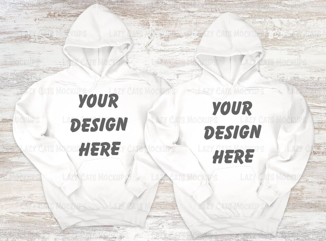 Download Double White Hoodie Gildan 18500 Mock Up Sweatshirt Mock Up Etsy In 2021 Hoodie Mockup Sweatshirts White Hoodie