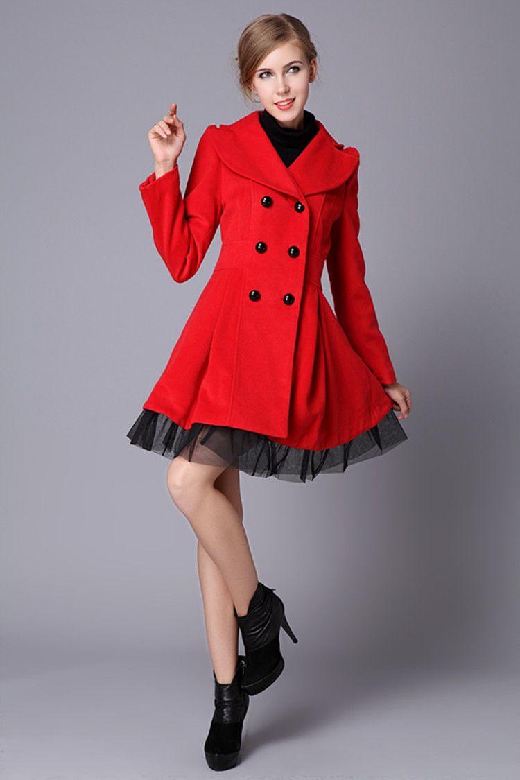 16523f1b Aliexpress.com : Buy Free Shipping 2013 Red Black White Wool Dress Coats  Women Double Breasted Peacoat Elegant Swing Ladies Winter Clothing .