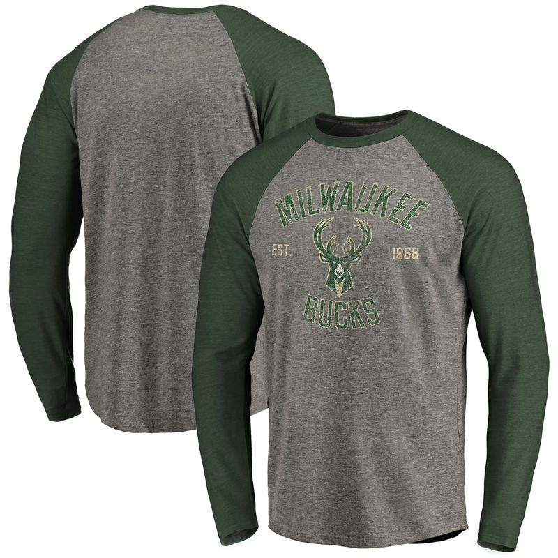 Milwaukee Bucks Heritage Raglan Long Sleeve T-Shirt - Heather Gray