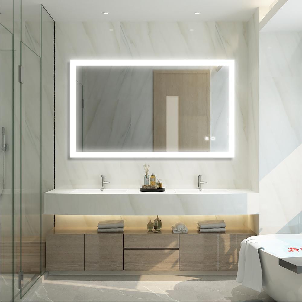 Boyel Living 40 In W X 24 In H Frameless Rectangular Led Light Bathroom Vanity Mirror In White Ex 4024r B4 X E The Home Depot Led Mirror Bathroom Bathroom Design Luxury Bathroom Vanity Mirror