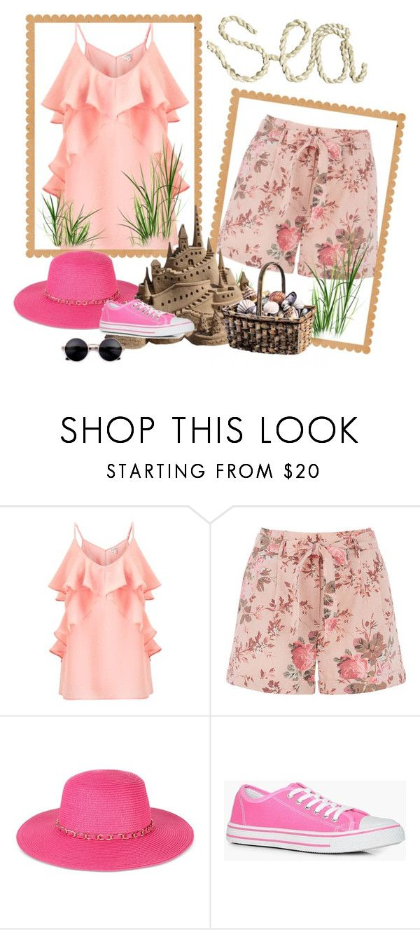 """By the sea"" by carolina-esquivel ❤ liked on Polyvore featuring Miss Selfridge, August Hat and Boohoo"