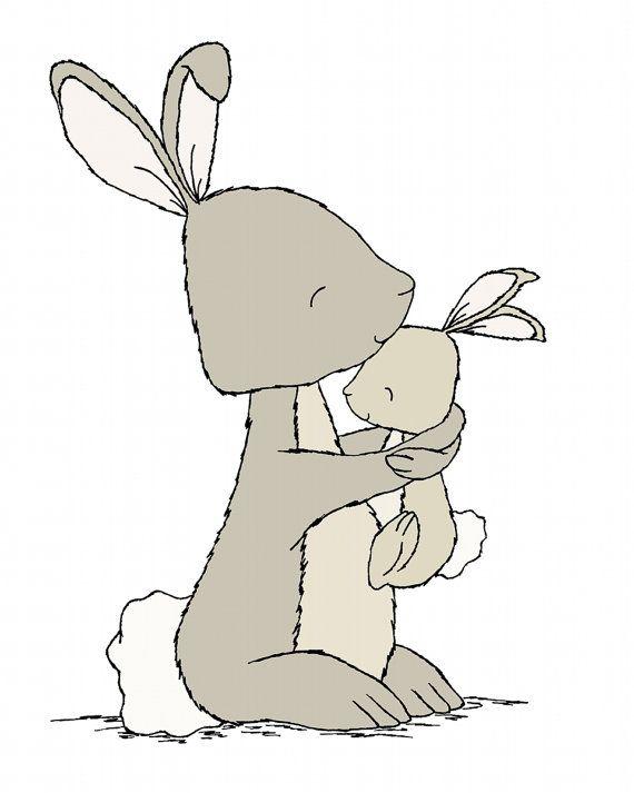 Bunny kwekerij ArtBunny mama en baby HugWoodland