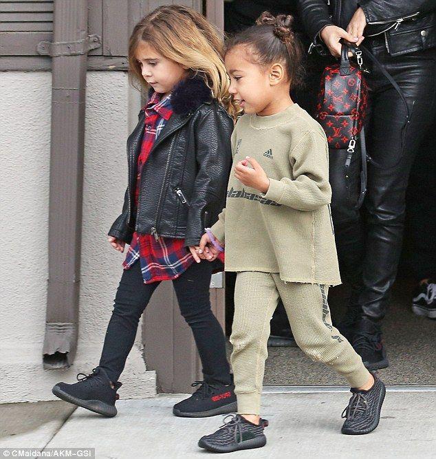 Kim Kardashian Enjoys Lunch With Kanye West And Their Two Kids Kids Fashion Kids Outfits Kardashian Kids