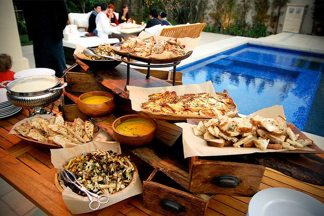 Pizza, Breads and Fondue display