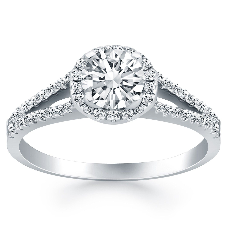 Diamond Halo Split Shank Engagement Ring Mounting In 14K White Gold