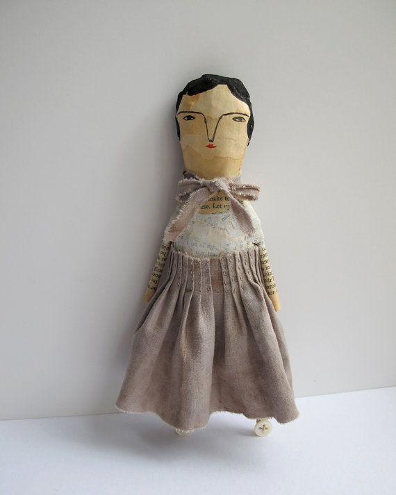 Whisper a mixed media folk art doll paper by cathycullis on Etsy