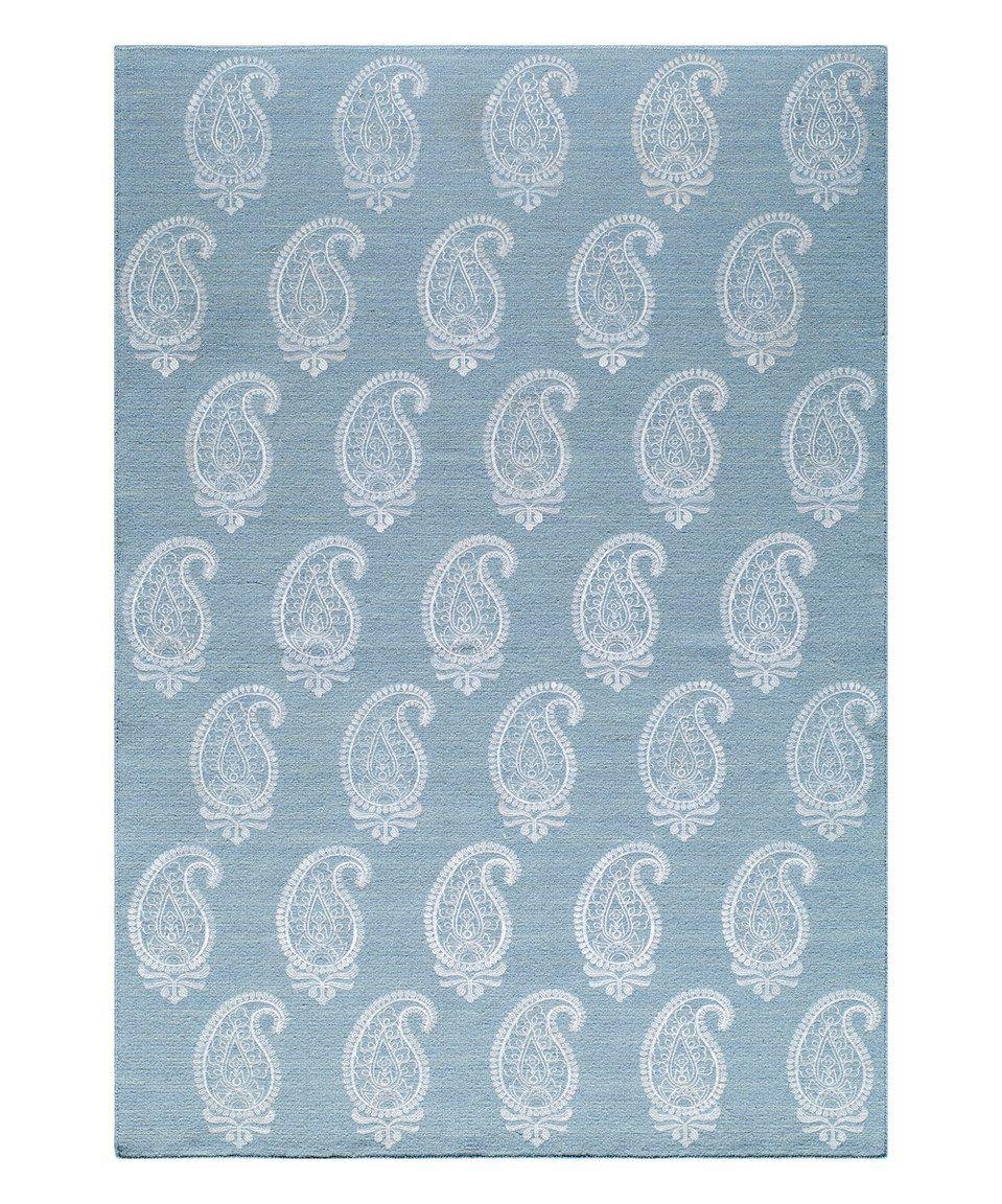 Soft Blue Paisley Reversible Flatweave Wool Rug Wool Area Rugs Blue Area Rugs Blue Rug