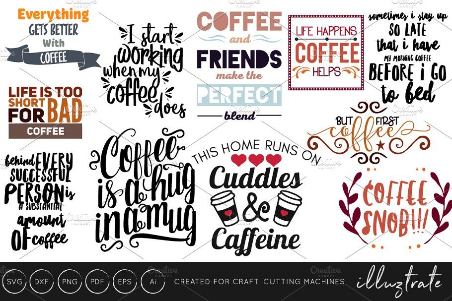 Download Coffee Quote Bundle Coffee Lovers in 2020   Coffee quotes ...
