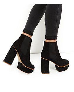 24acad66d4713 Black Premium Suede Chunky Platform Chelsea Boots
