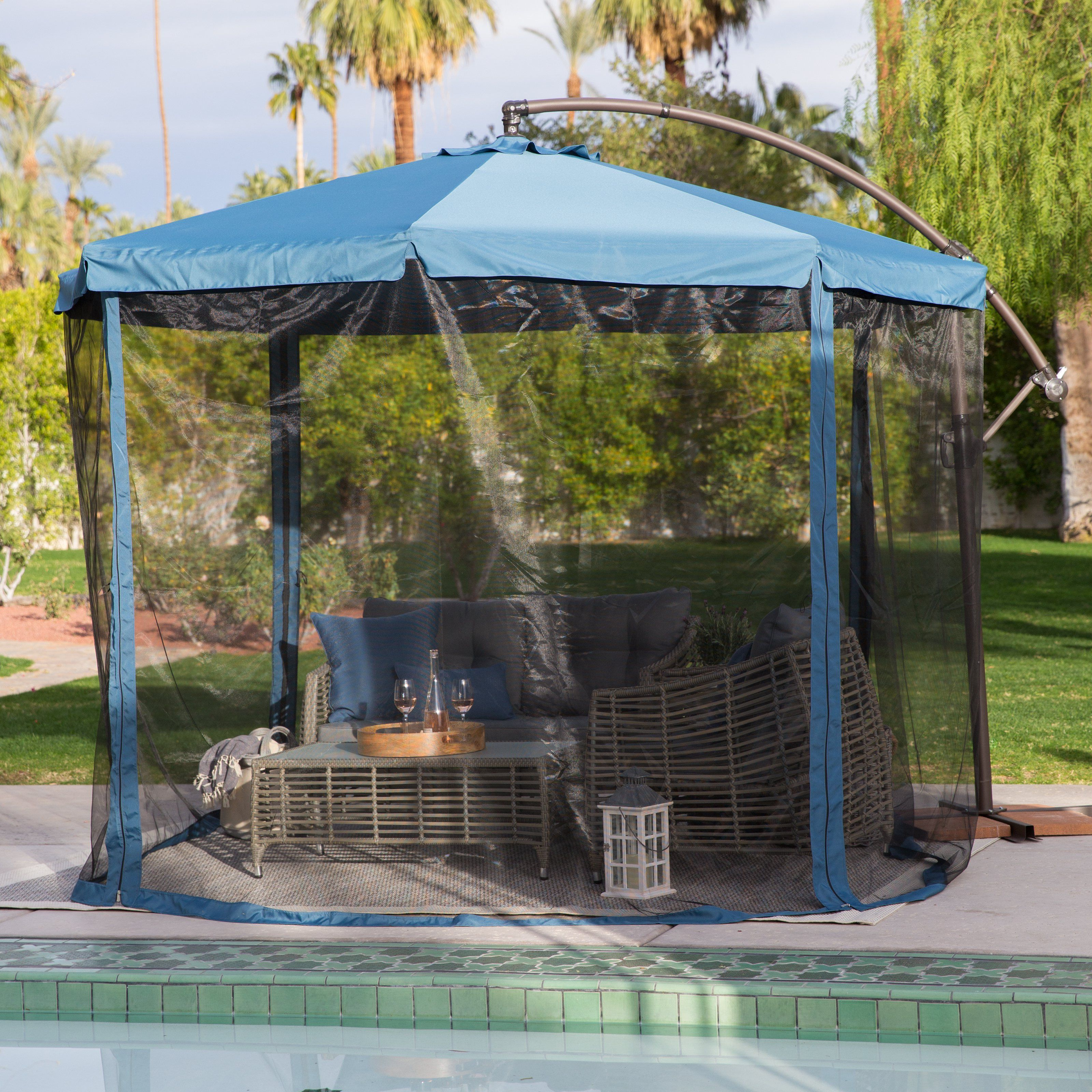 Exceptional Steel Offset Patio Umbrella With Detachable Netting   Now You Can Enjoy  Refreshing Shade And Protection From Pests, Too! The Coral Coast 11 Ft. Nice Design