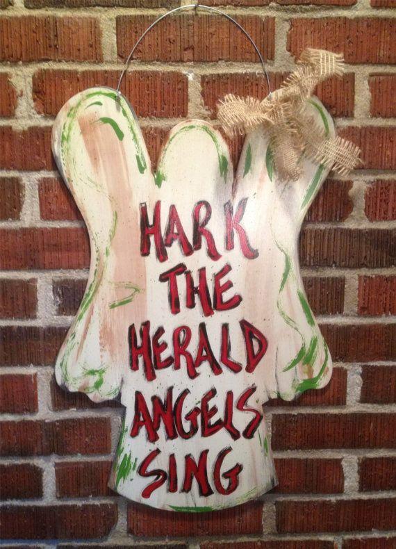 Hand Painted Door Hanger: Hark the Herald Angels Sing on Etsy, $36.00
