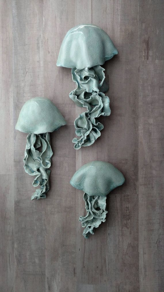 Jellyfish Ceramic Wall Sculpture Set Of 3 Art