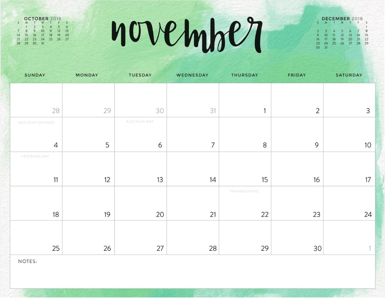 November 2018 Calendar Word Excel Pdf Page Document Calendario