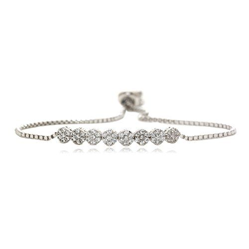 Eight Round Linked Bracelet 56 Round Cubic Zirconia Silver Plated Box Chain * Be sure to check out this awesome product.