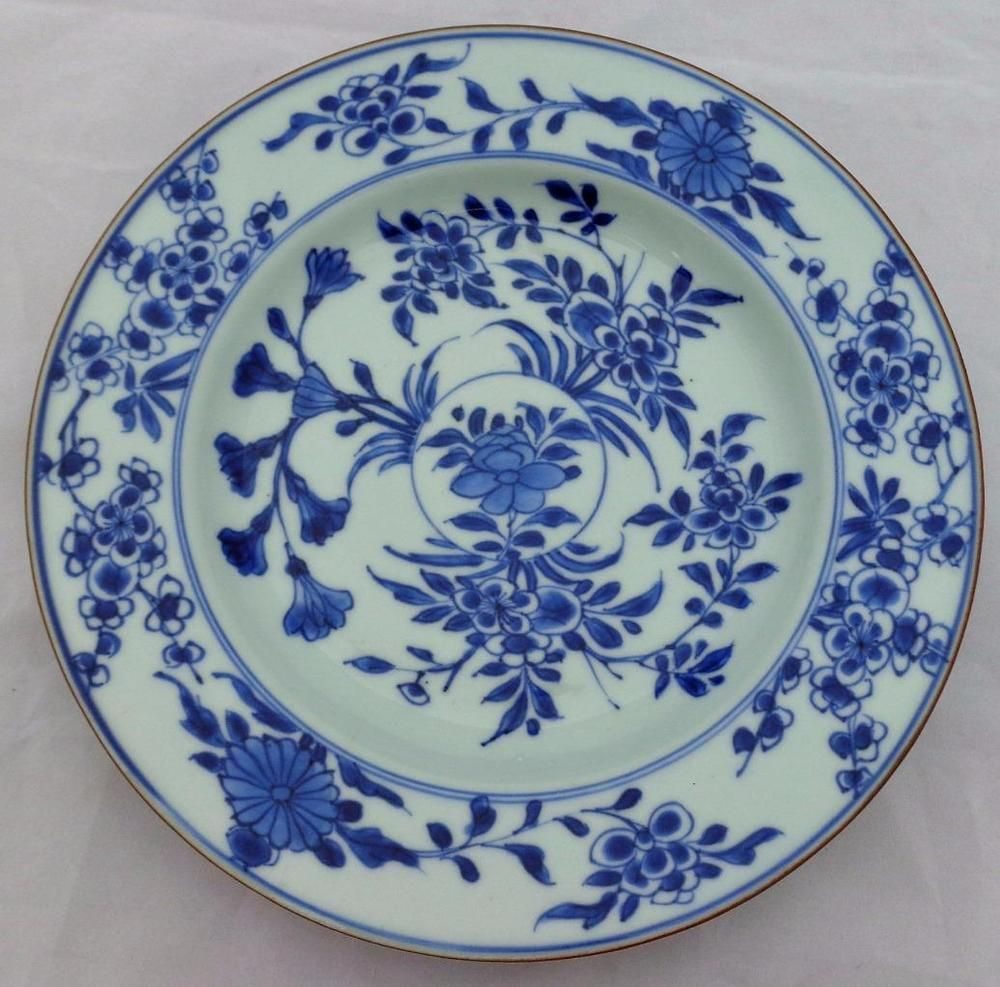 Antique Chinese Porcelain Hand Painted Blue Plate Qianlong 乾隆 Qing 1790 清代 & Antique Chinese Porcelain Hand Painted Blue Plate Qianlong 乾隆 Qing ...