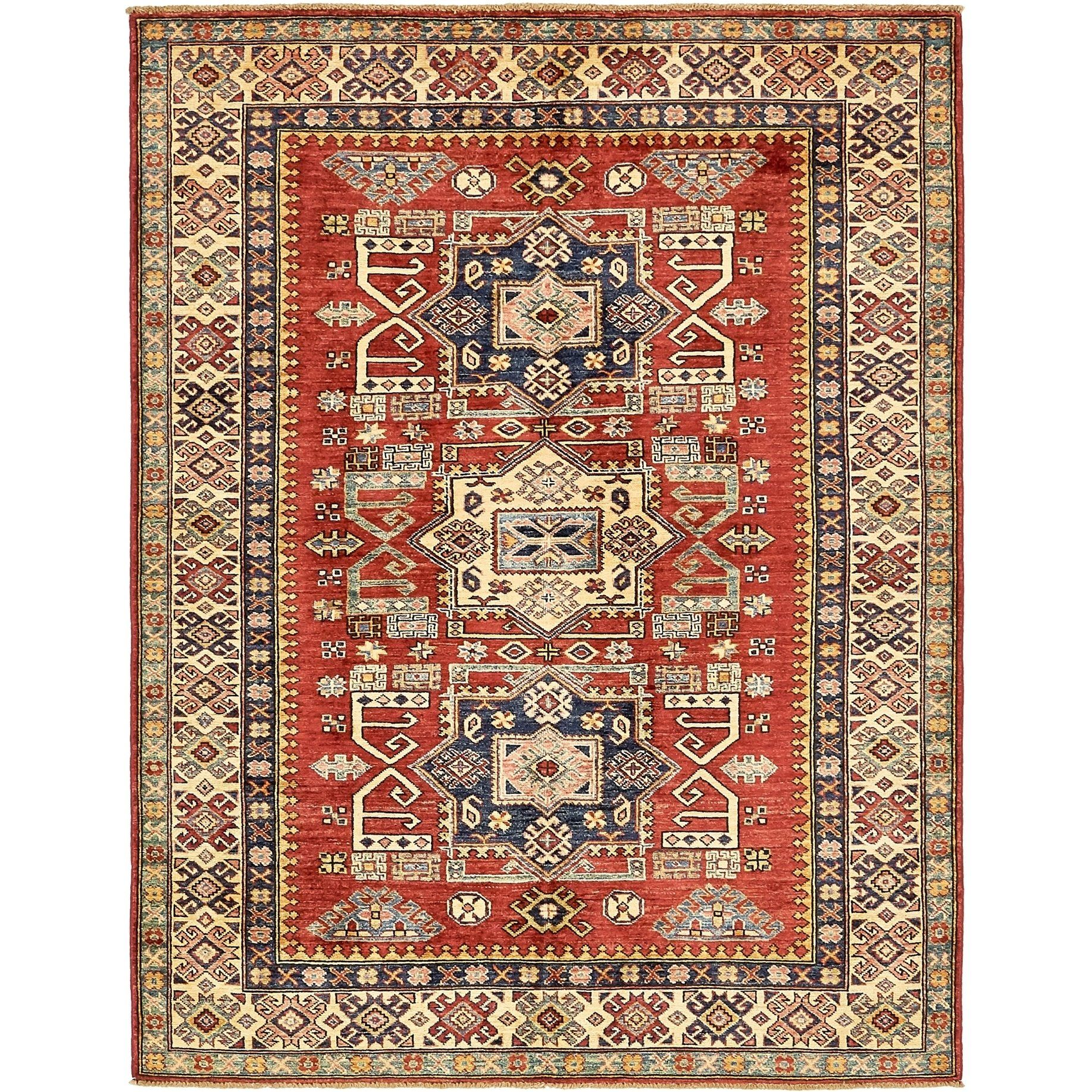 Refurbished Hand Knotted Kazak Wool Area Rug 5 X 6 6 Red 5
