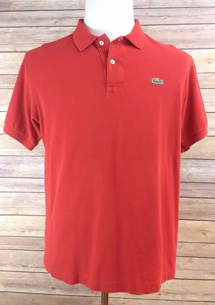 35c4bb0c6ef3 Lacoste Mens Red Polo Shirt Alligator Logo Sz 6 LARGE Authentic Lacoste Polo   Lacoste  PoloRugby