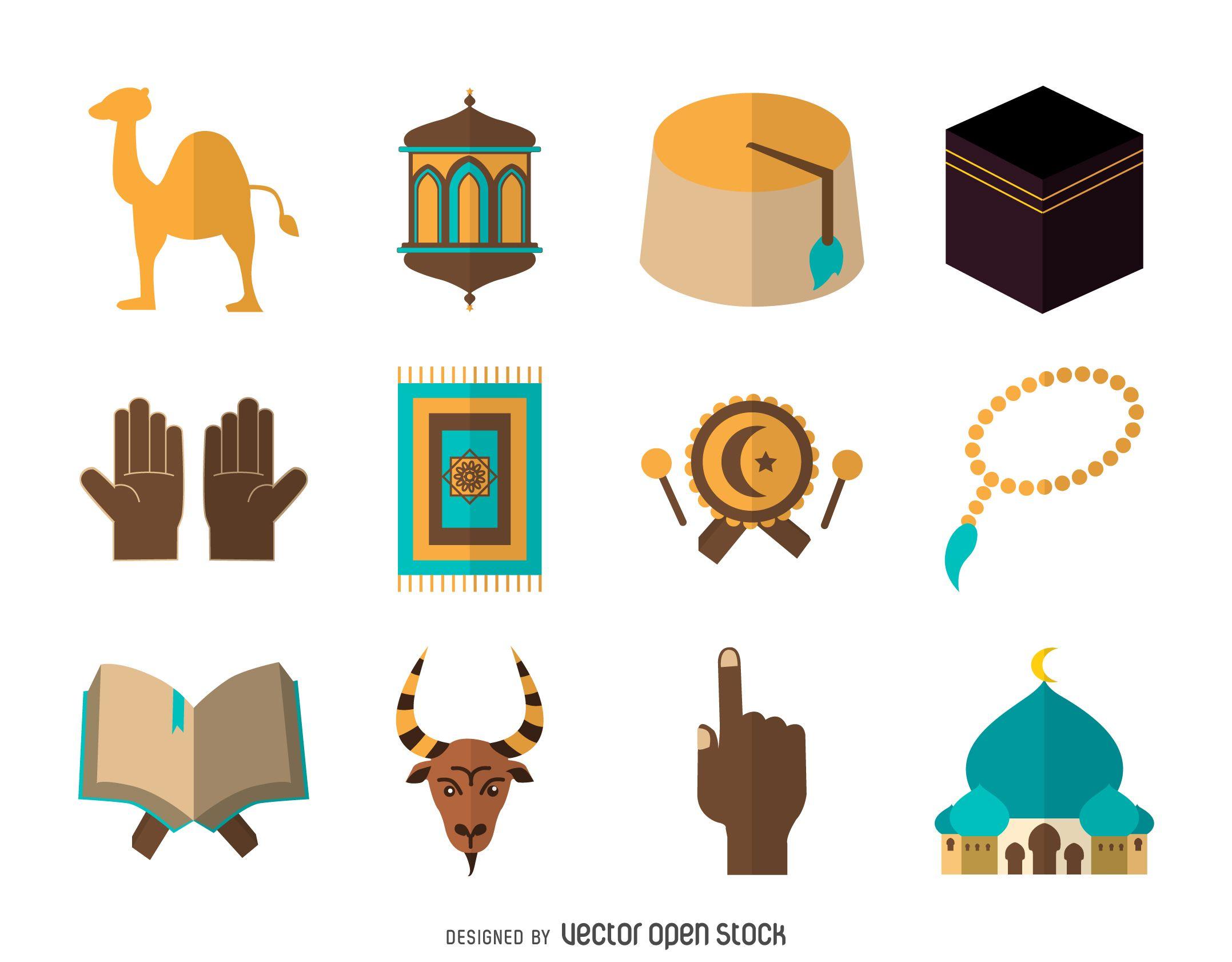Flat islam icon set Seni