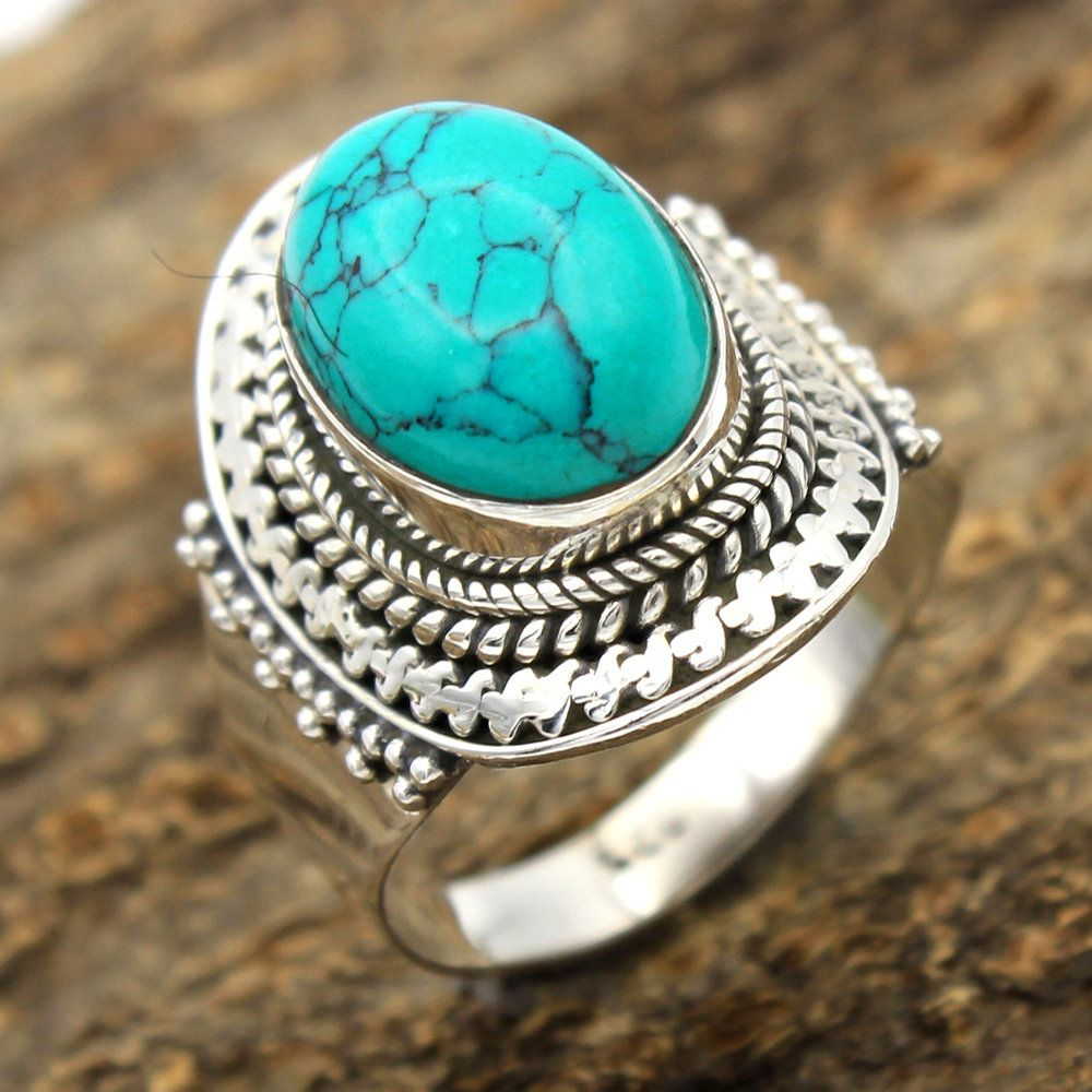 Fashion Women/'s Natural Blue Turquoise Gemstone 925 Solid Sterling Silver Ring