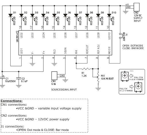 This project is a Variable Range LED voltmeter. Description This is ...