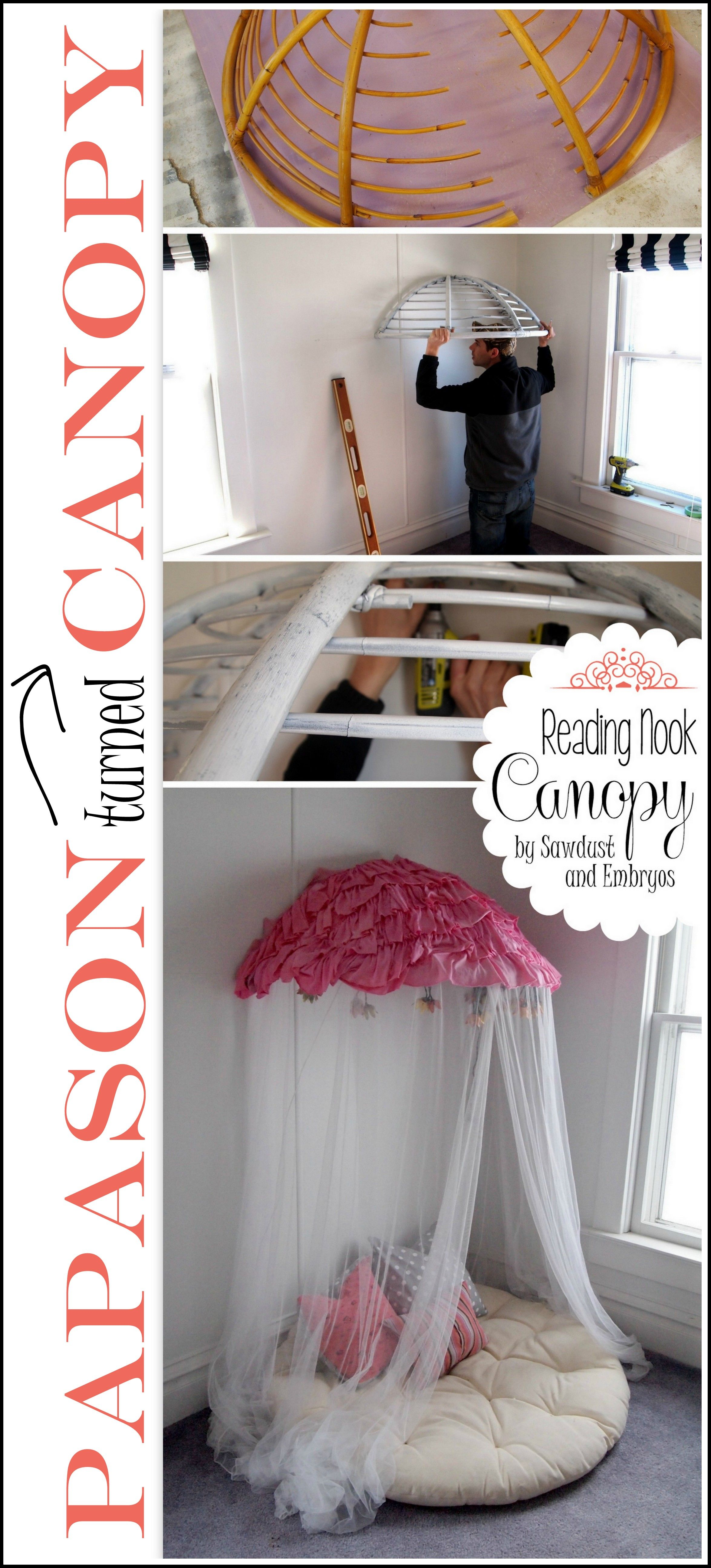 Turn Your Old Papasan Into A Canopy Reading Nook Diy