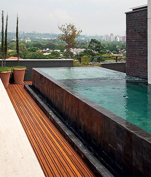 Piscinas piscinas pinterest borda infinita tanque e for Decorar piscina elevada