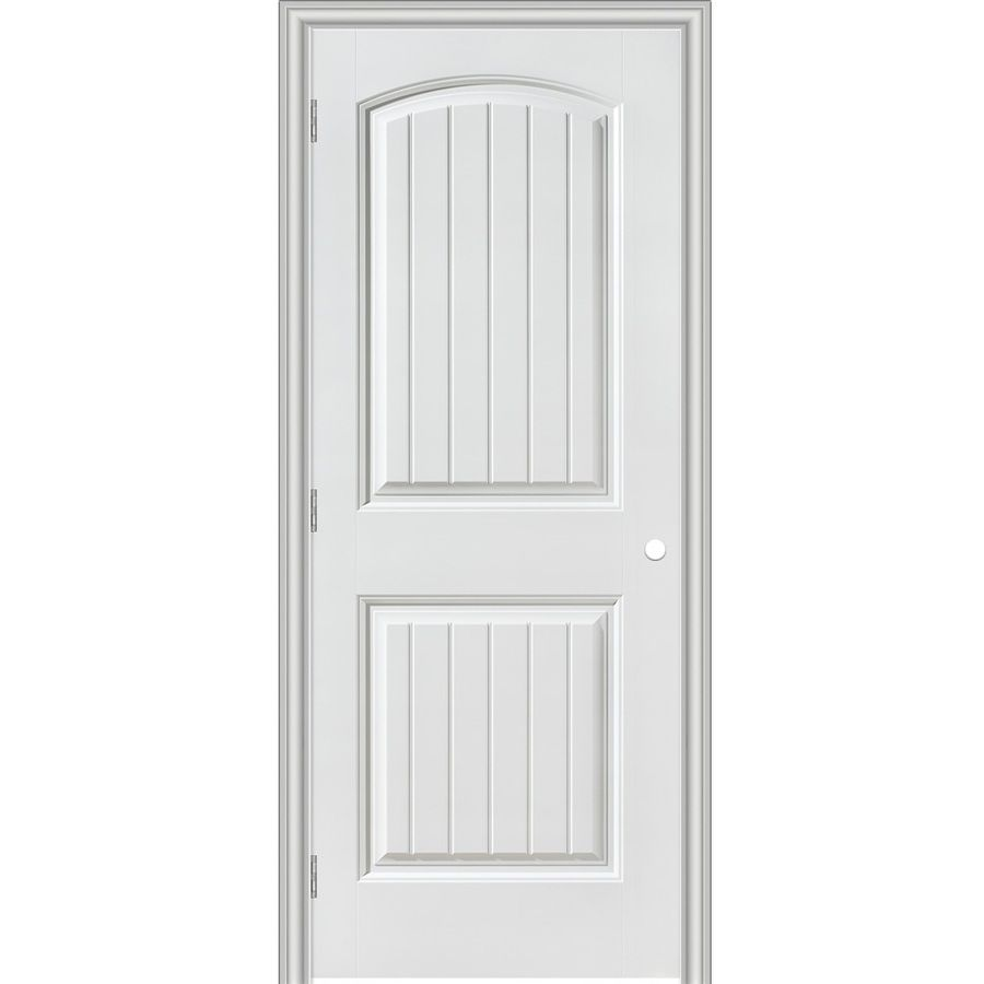 Masonite Prehung Hollow Core 2 Panel Round Top Plank Interior Door Common 24 In X 80 In