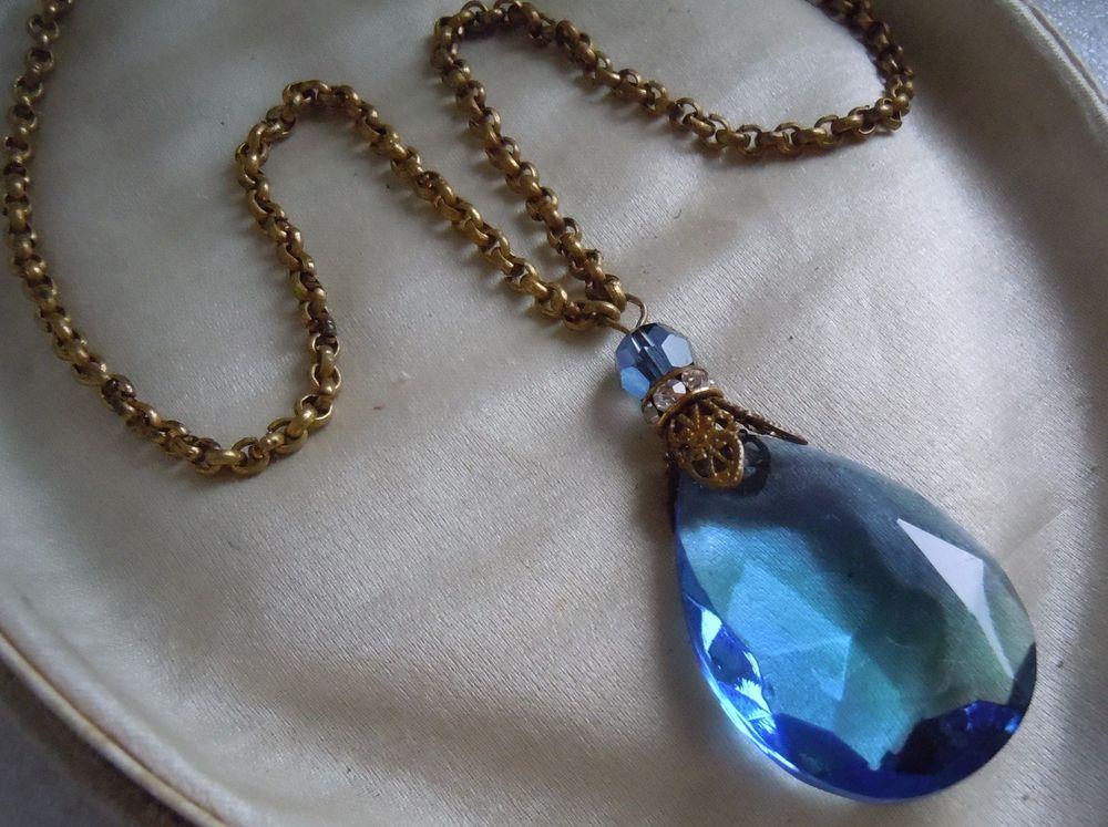 Antique Nouveau Deco Large Faceted Sapphire Glass Bead Drop Necklace Estate Lot