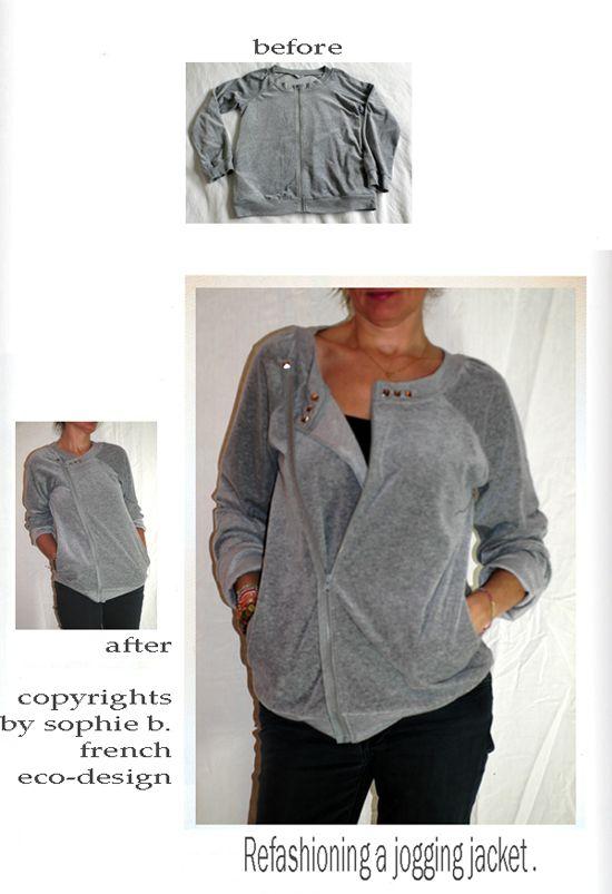 by sophie b. l'éco-design à la française: Winter 13 - Refashioning of a too big jogging jacket.
