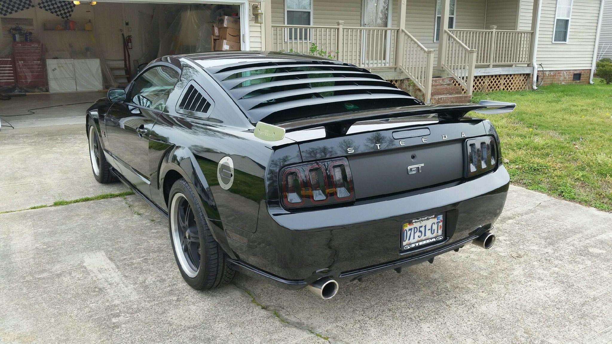 Black 2007 Ford Steeda Mustang Gt With Silver Horse Racing Rear Diffuser Quarter Window Louvers Mrt