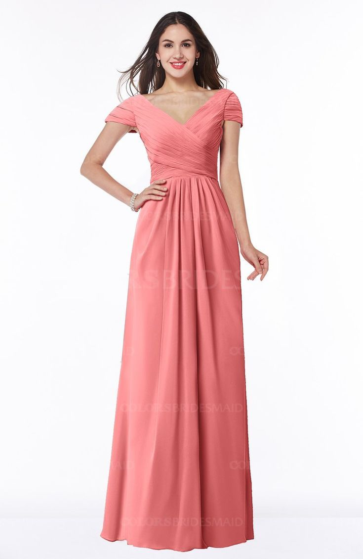 6f316527aad55 Coral Glamorous A-line Short Sleeve Floor Length Ruching Plus Size  Bridesmaid Dresses (Style D91410)