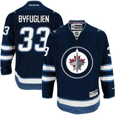 243d0fdf7aa Mens Winnipeg Jets  33 Dustin Byfuglien Reebok Navy Blue Premier Player Hockey  Jersey